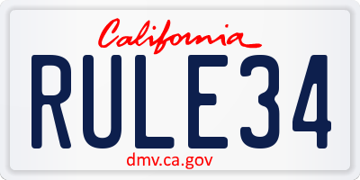 CA license plate RULE34