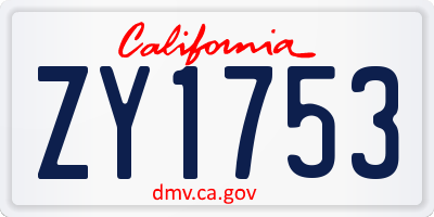 CA license plate ZY1753