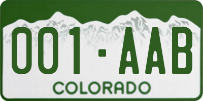 CO license plate 001AAB