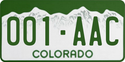 CO license plate 001AAC