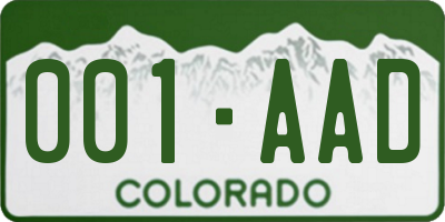 CO license plate 001AAD