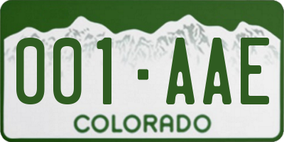 CO license plate 001AAE