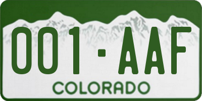 CO license plate 001AAF
