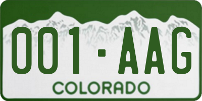 CO license plate 001AAG