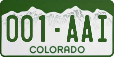 CO license plate 001AAI