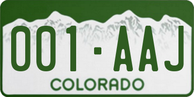 CO license plate 001AAJ