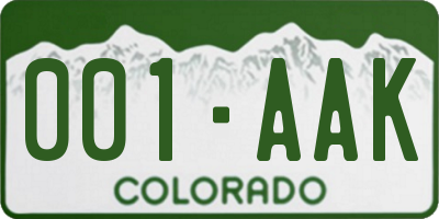 CO license plate 001AAK