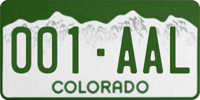 CO license plate 001AAL