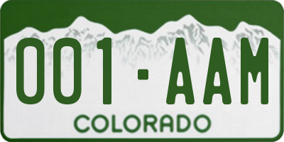 CO license plate 001AAM