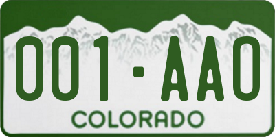 CO license plate 001AAO