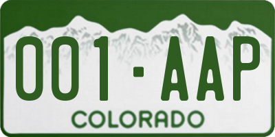 CO license plate 001AAP