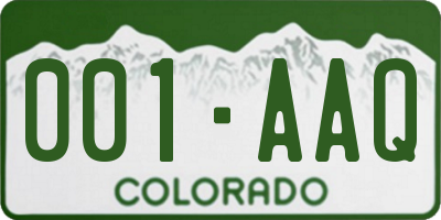 CO license plate 001AAQ