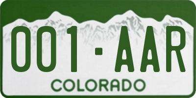 CO license plate 001AAR