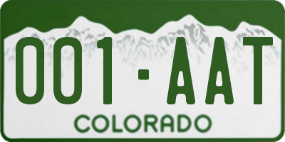 CO license plate 001AAT