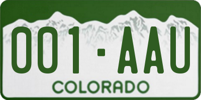 CO license plate 001AAU