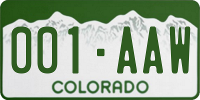 CO license plate 001AAW