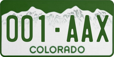 CO license plate 001AAX