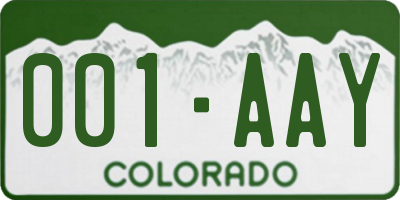 CO license plate 001AAY