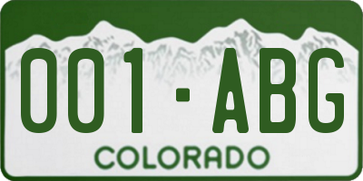 CO license plate 001ABG