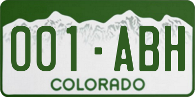 CO license plate 001ABH