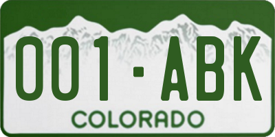 CO license plate 001ABK