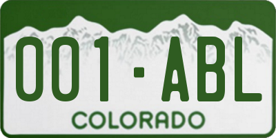 CO license plate 001ABL