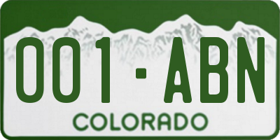 CO license plate 001ABN