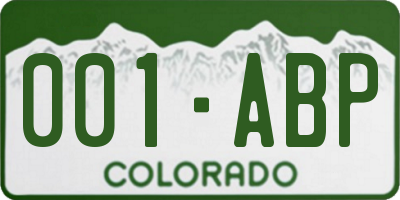 CO license plate 001ABP
