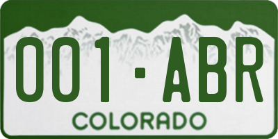 CO license plate 001ABR