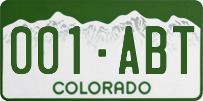 CO license plate 001ABT