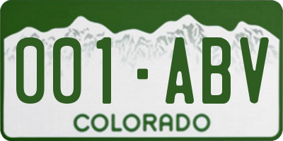 CO license plate 001ABV