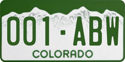 CO license plate 001ABW