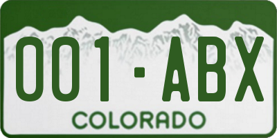 CO license plate 001ABX