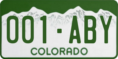 CO license plate 001ABY