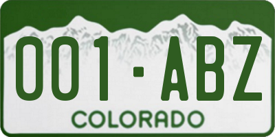 CO license plate 001ABZ