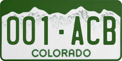 CO license plate 001ACB