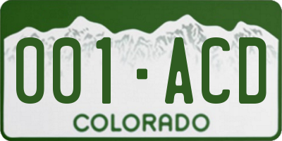 CO license plate 001ACD