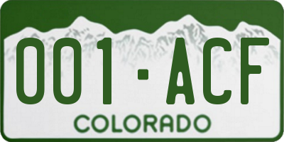 CO license plate 001ACF