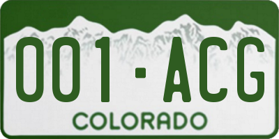 CO license plate 001ACG