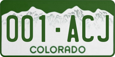CO license plate 001ACJ