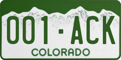 CO license plate 001ACK