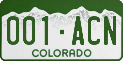 CO license plate 001ACN