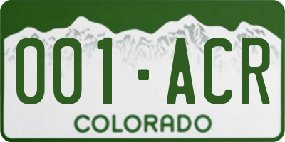 CO license plate 001ACR