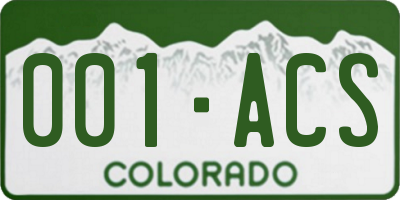 CO license plate 001ACS