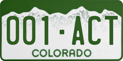 CO license plate 001ACT