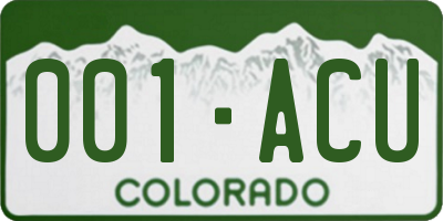 CO license plate 001ACU