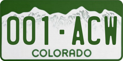 CO license plate 001ACW