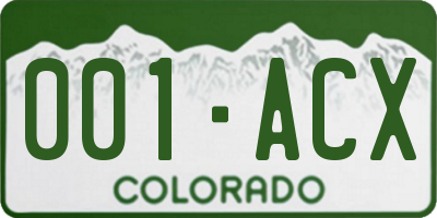 CO license plate 001ACX