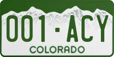 CO license plate 001ACY