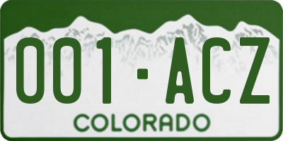 CO license plate 001ACZ